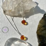 Dark Baltic Amber Nugget Healing Pendant Necklace